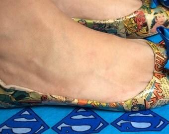 Custom Comic Book Shoes, Comic Book Shoes, Comic Book Flats, Comic Book Heels, Comic Con Shoes, Super Hero Shoes, Super Hero Flats With Bow