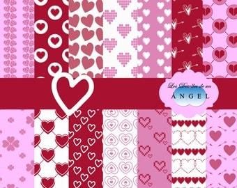 Digital papers of hearts Kit / Kit digital paper hearts