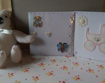 Baby card and teddy bear