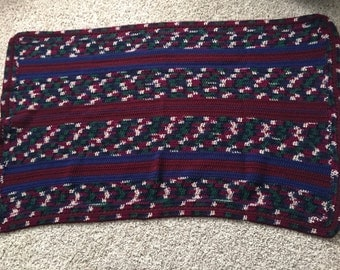 Navy, Burgundy, and Forest Green Crocheted Throw