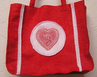 Red Felt Tote, Red Purse, Craft Tote