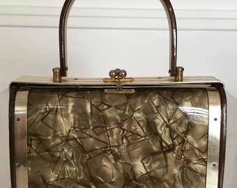 Vintage Brown & Gold Lucite Handbag