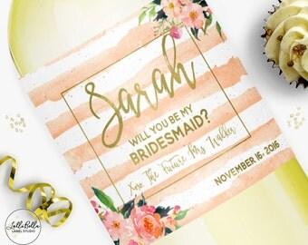 Ask Bridesmaids, Wine Label, Bridesmaid Gift Boxes, Champagne label, Bridesmaid Gift, Thank you gift