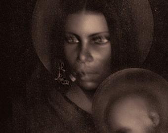 Erzulie Dantor Original Art, Black Madonna, Ezili Danto Portrait, Black Madonna Art, Metal Vodou Altar Centerpiece, Voodoo Altar Art