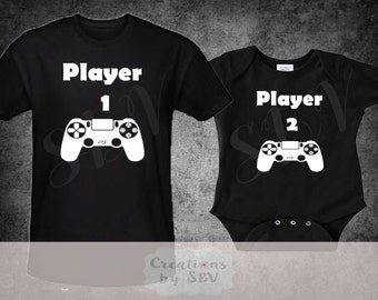 Father Child Player 1 - Player 2 Matching Set, Daddy and Son Outfit, Daddy and Me Tshirts, Like Daddy shirt, Funny Daddy Child Outfit