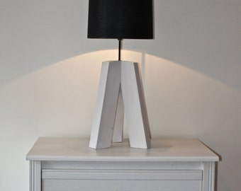 milled wooden tripod lamp