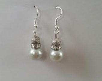 """Glass """"pearl"""" drop earrings"""