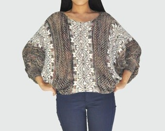 Batwing Knitted Sweater (Greyish Mix)