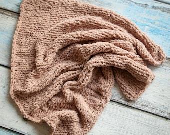 Stretch Knit Blanket. Newborn layer. Baby photography prop. Brown newborn wrap