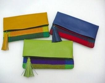 Lenca and Leather Handmade Envelope Handbag