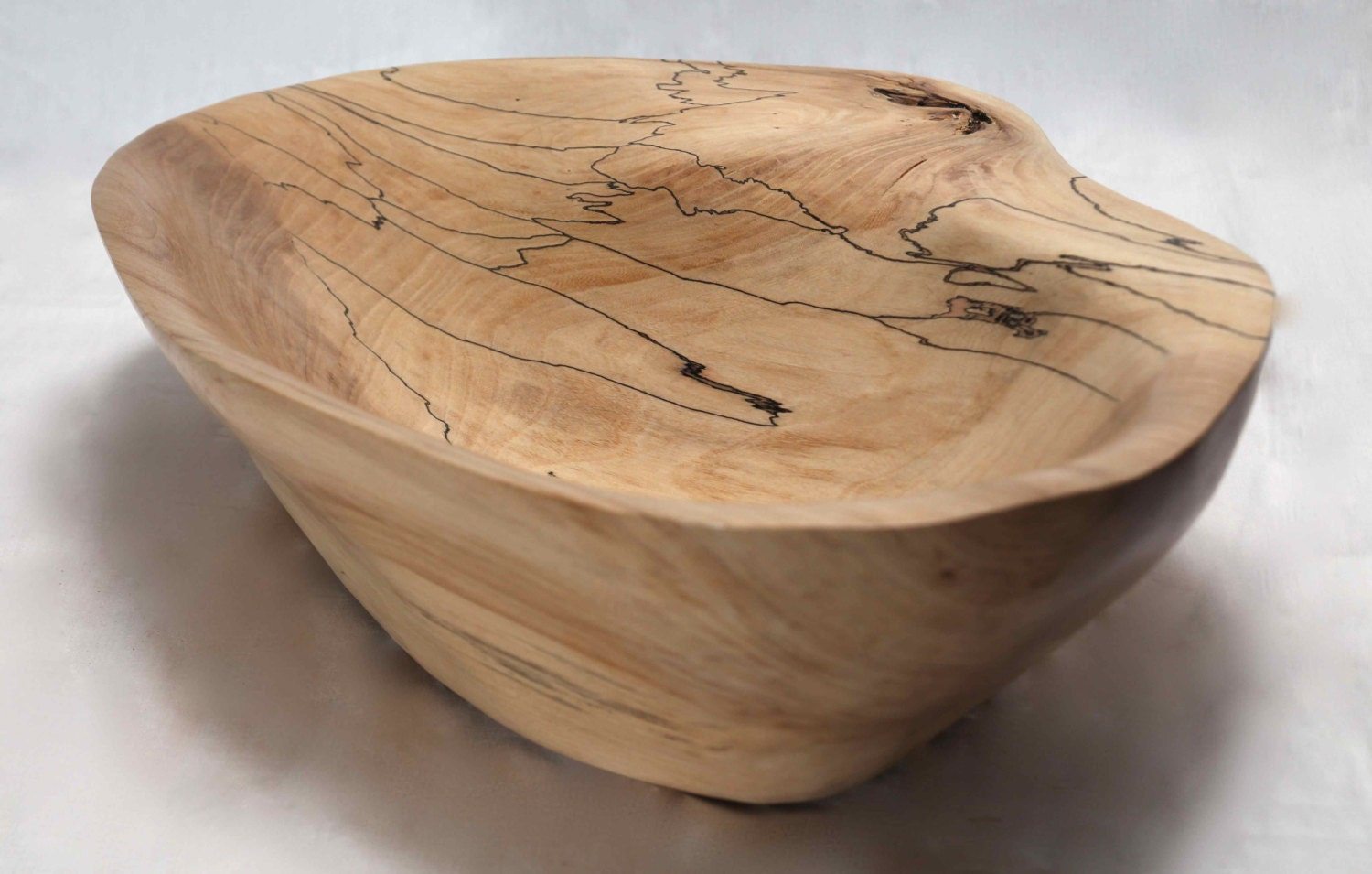 Large hand carved spalted maple bowl