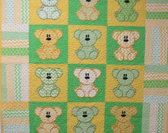 Custom, Handmade, Baby Quilt, Teddy Bears by the Douzen