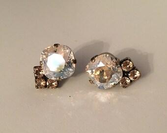 Crystal Moonlight and Peach Swarovski Crystal Earrings *Bridal * Bridesmaid Jewelry * wedding