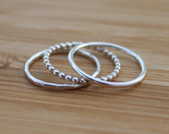 3 x Sterling Silver Stacking Rings - Skinnies