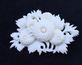 Old Antique Vintage Hand Carved Bone Flower Brooch Pin