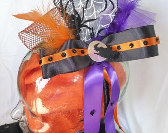 Halloween spider and witch fascinator