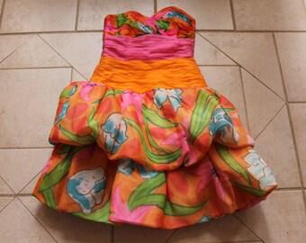 Vintage LAWRENCE Strapless Silk Peplum Dress      Sz 6