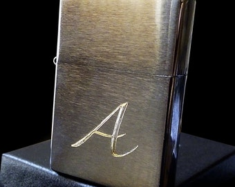Personalized Brushed Chrome Zippo Lighter (Name or Initials only)
