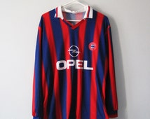 VINTAGE FC Bayern Munich Long Sleeves Football/Soccer Jersey Blue and Red Stripes Sports - Size XL