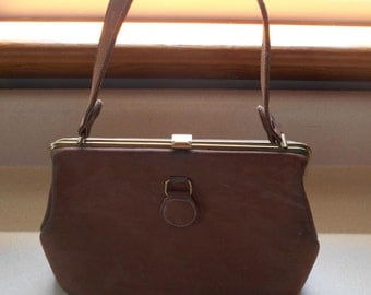 Vintage Brown Leather Purse Pink Lining