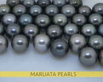 Tahitian pearls ROUND shape Grey - A+ - 10 mm - Loose Undrilled (drilling optional 0.9 to 1.5mm)
