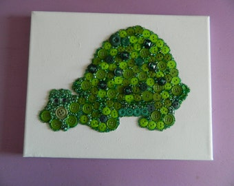 """Button Art,  Turtle Button Art with beads and crystals, 8"""" x 10"""""""
