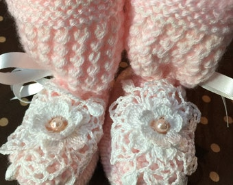 Pink Baby Booties with crochet lace flower
