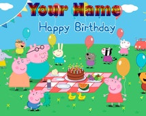 Peppa Pig Cake topper Size 1/4 Sheet  1/2 Sheet 1/3 Sheet Personalized Non Personalized Rice paper Frosting  Icing Cake Decoration