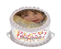 Your own photo, Picture, logo or design Personalized Edible Cake topper Round with FREE Banner,  Rice Paper or Icing Frosting Sheet