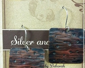 Copper and Silver Square Bark/Rain Textured Earrings