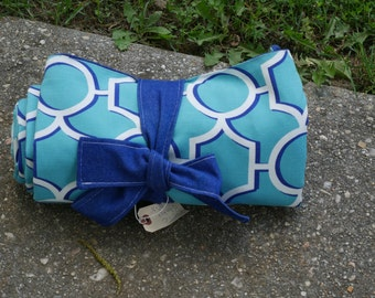 Blue Teal Geometric Picnic Blanket, Roll Up Blanket