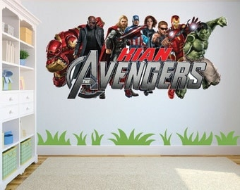 Marvel Avengers Superheroes with personalised name Wall Art Sticker/Decal for Kids Room w130cm x h59cm