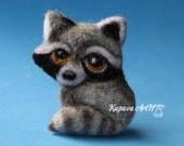 Cute Raccoon. Needle felted brooch. Wool felt brooch. Felted jewelry. Gift ideas. Gift for Her