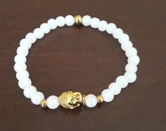 White Beaded Gold Silver Buddha Bracelet