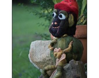 Needle Felted Australian Frog Pond Troll felted troll fantasy troll fantasy creature