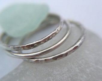 Stacking Rings, Sterling Silver Stacking Ring Set, Three Rings, Smooth and Hammered Ring set