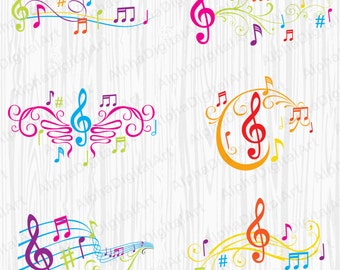 6 Ornate Music Design, treble clef clipart, notes clipart, Rainbow notes clipart, music invitation clip,Music labels, scrapbooking clipart