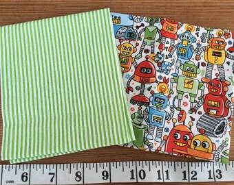 Green stripes 100% cotton fat quarter