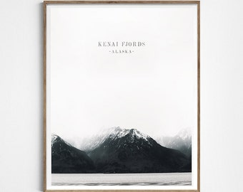 Mountains poster. Kenai Fjords. Alaska photography . Wanderlust, travel artwork. Nature art. Snow poster. winter poster. Instant download