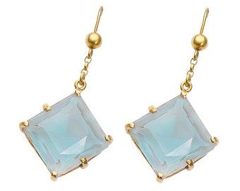Vintage Earrings Saphiret Blue Mauve Tone