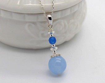Blue Agate,Light Blue Chalcedony,925 Sterling Silver Pendant P107