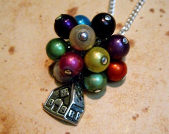 Up Balloon House Necklace/Bracelet/Keyring in Silver or Bronze