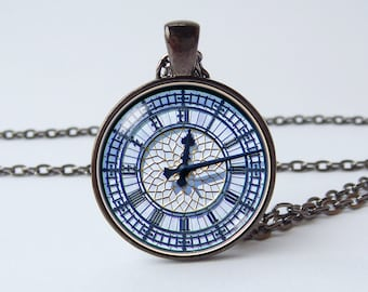 Big Ben clock necklace Clock pendant Stylish clock jewelry Ancient clock Historical necklace Technological Birthday gift Vintage style