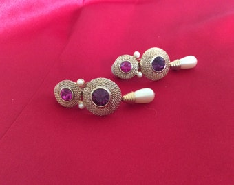 Pearls and red stones drop clip earrings