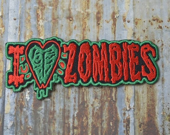 I Love Zombies Dead Ghost Salute Grey and Red Embroidered Iron On Or Sew On Patch