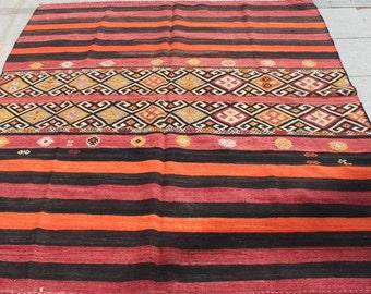 Orange and black striped  kilim rug 7x6 ft