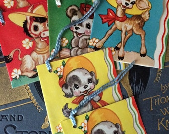 Cute Group of Vintage Animal Tally Cards