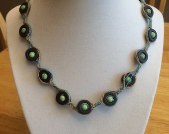beaded/braided necklace, blue and green necklace, hemp necklace