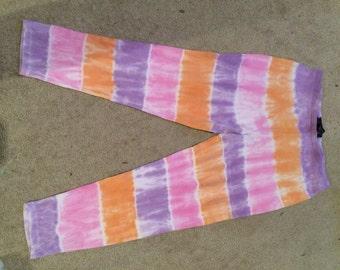 TIE DYE candy stripe leggings size 10 UK