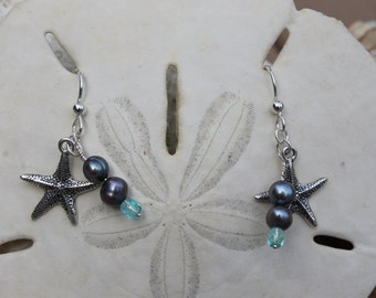 sterling silver starfish, freshwater pearl, and light blue quartz dangle earrings